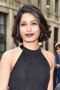 Frieda Pinto's deep plum lip. See it and 9 other early spring beauty looks worth trying.
