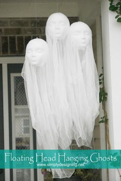 Make this fun DIY Halloween Decorations. Super creepy Floating Head Hanging Ghosts are perfect for any Halloween decor! Diy Halloween Ghosts, Halloween Ghost Decorations, Halloween Home Decor, Outdoor Halloween, Halloween Party Decor, Halloween Ideas, Halloween Crafts, Halloween Displays, Halloween Christmas