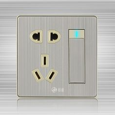 86 type wall switch socket panel brushed the wall outlet power switch with a five-hole socket dual control 10pcs