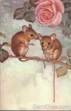 """""""Two Mice in Rose Bush"""" by Noel Hopking (softer colors)"""