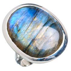 Large Labradorite 925 Sterling Silver Ring Size 9 RING721245