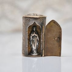 how to make a pocket shrine Our Lady Of Lourdes, Virgin Mary, See Picture, French Antiques, Silver Plate, Brass, Pocket, Pictures, Google Search