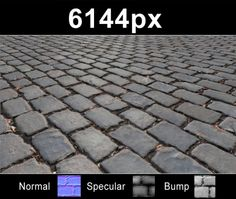 HDRI Hub - Super high resolution cobblestone pavement texture. Seamless and tileable! Color/Normal/Specular/Bump Maps included