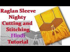 Raglan sleeve nighty (dress) cutting and stitching hindi tutorial very easy method - YouTube