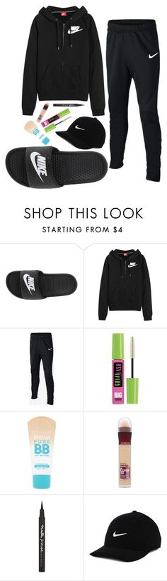 """leave me alone"" by lowhannah on Polyvore featuring NIKE and Maybelline"