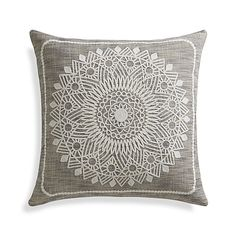 Ivory embroidery adds a textural layer to the Padilla pillow's blended yarn base of tonal greys. Reverses to blended yarn base. Our decorative pillows include your choice of a plush feather-down or lofty down-alternative insert at no extra cost.