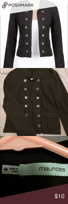 Maurice's black military jacket Black military jacket from Maurice's! Has buttons on both sides and hangs open. Jackets & Coats Jean Jackets
