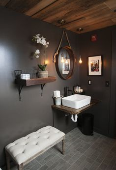 I never thought a dark paint would look so nice in a bathroom! love the plank ceiling! #bathroomideas #Homedecorideas #Homeimprovement #ad #bathroomremodel #Planks #Bathroomdecor #bathroomdesign