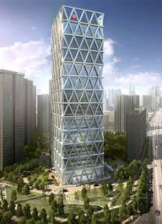 Zhong Hong Tower - The Skyscraper Center Minecraft Modern, Minecraft Plans, Minecraft Projects, Minecraft Designs, Office Building Architecture, Building Facade, Futuristic Architecture, Minecraft Skyscraper, Minecraft City Buildings