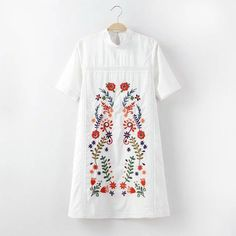 Bella Philosophy spring and summer new fashion European and American flowers embroidered stand collar white dress