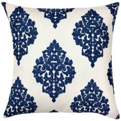 Bring a bit of appealing contrast to a living room sofa with this square decorative throw pillow. x square. Square decorative pillow from the Charlotte collection. Style # at Lamps Plus. Blue And White Pillows, Blue And White Fabric, Blue Pillows, Sofa Pillows, Floral Throw Pillows, White Cushion Covers, Large Pillows, Tropical Decor, Tropical Interior