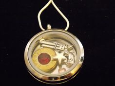 Customized Floating Locket on Chain Necklace- Includes ONE Stamped Plate, spent 45 gun shell, gun charm, memory locket, annie get u gun