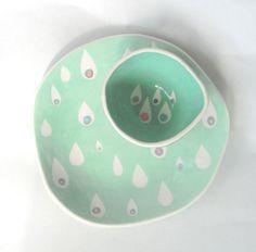 Dessert plate Mint Raindrops- READY TO SHIP