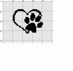 Mini Cross Stitch, Cross Stitch Heart, Cross Stitch Designs, Cross Stitch Patterns, Crochet Patterns Filet, Pet Paws, Craft Night, Canvas Patterns, Cross Stitching