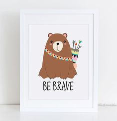 Tribal Nursery Wall Set Arrow Printable Be Brave Bear Be Nursery Prints, Nursery Art, Fox Nursery, Brave, Printable Designs, Printable Art, Tribal Nursery, Cat Wedding, Tribal Decor