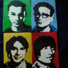 The Big Bang Theory characters portrait perler beads by peoplesayimevil