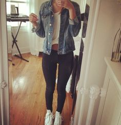 leggings + loose white tee + denim jacket + converse.