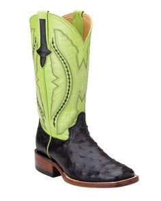 Ferrini Women's Full Quill Ostrich S-Toe Boot - Black/Lime