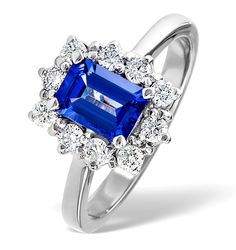 Tanzanite 7 x 5mm And 0.50ct Diamond 18K White Gold Ring. Free Insured Delivery & Insurance Valuation, 5 Year Guarantee. View Now £1359.00