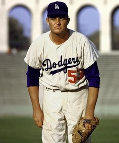 Don Drysdale pitched for the Dodgers He was inducted into the Baseball Hall of Fame in 1984 with a career record of a career ERA of and strikeouts. Baseball Star, Dodgers Baseball, Baseball Players, Baseball Cards, Baseball Wall, Angels Baseball, Mlb Players, 1965 World Series, Don Drysdale