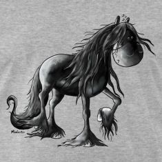 """Black Pearl"" - Friesian Horse -  Cartoon T-Shirts"