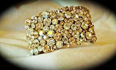 Rose Gold Tone Swarovski Crystal  Rhinestone Cuff Bracelet
