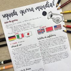 #repost . •RESUMO DE HISTÓRIA• - Segunda Guerra Mundial. . . Tá disponível no drive (link na bio) . . . #isaresumos . . . #study #studygram… Class Notes, School Notes, Notebook Organization, School Organization, School Motivation, Study Motivation, Mental Map, Sketch Note, Bullet Journal School
