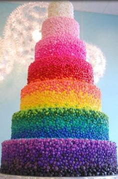 It's a rainbow cake. I wonder how long it took to make this. Probably 5 days.