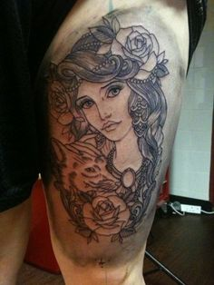 claudia de sabe. thigh tattoo. this is what i mean when i say i want a tattoo of a beautiful girl.