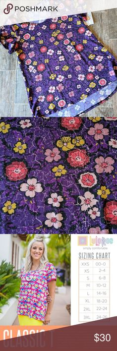 Plus size 18/20 Lularoe PURPLE classic T nwt Polyester spandex material. Has stretch. Main color is purple accented by the cutest flowers. LuLaRoe Tops Tees - Short Sleeve