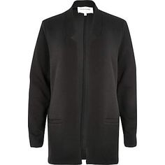 Black inverted collar jersey jacket $80.00