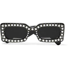 Gucci Embellished square-frame acetate sunglasses (£690) ❤ liked on Polyvore featuring accessories, eyewear, sunglasses, black, uv protection sunglasses, square frame sunglasses, uv protection glasses, gucci glasses and gucci eyewear