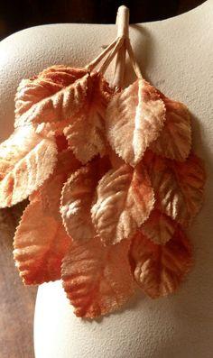 Velvet Leaves in Orange Soda for Bridal Millinery by MaryNotMartha, $5.00