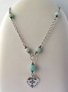 Amazonite and silver necklace by Helmetti, via Flickr