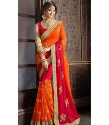 Buy Affluent Multi Colored Embroidered Faux Georgette Saree georgette-saree online