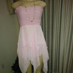 Pink Strapless Asymmetrical Flowy Dress Light pink flowy fairy dress, size medium Dresses Asymmetrical