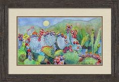 Cactus Framed Print featuring the painting By The Light Of The Moon by Michele Ross