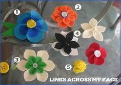 how to make several felt flowers for pins or hairclips