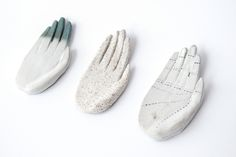 Ceramic hands, made by Kaye Blegvad.
