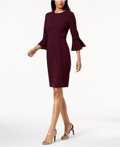 bbc39f1ae332 Calvin Klein Piped Bell-Sleeve Sheath Dress Women - Dresses - Macy s