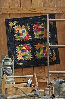 Farmstead - Star and Wool Applique Small Quilt - Pattern in Little Quilts in the Coop Two by The Little Red Hen