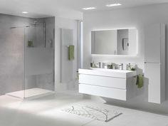 minimalisme wit grijs Grey Bathrooms, Modern Bathroom, Master Bathroom, Bathroom Design Luxury, Bathroom Layout, Bathroom Renovations, Bathroom Furniture, Interior Design Living Room, Solid Surface