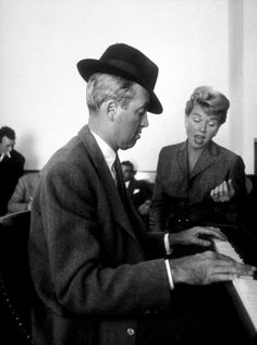 James Stewart and Doris Day on the set of The Man Who Knew Too Much.