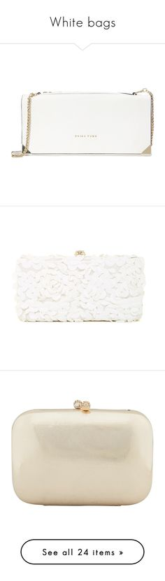 """""""White bags"""" by ceciliapersson-1 on Polyvore featuring bags, handbags, clutches, bolsos, designer handbags, white, hand bags, trina turk purse, white handbags and man bag"""