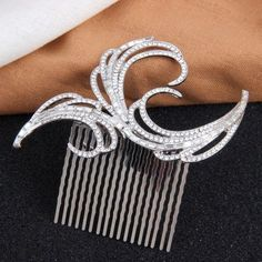 Silver Rhinestone Wedding Bridal Hair Comb Piece