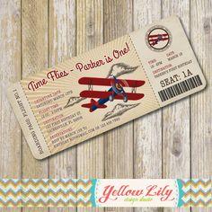 Vintage Airplane Boarding Pass Birthday by YellowLilyDesigns