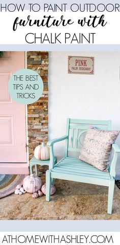 outdoor chalk paint. Can you use chalk paint on outside furniture? Yes and I can teach you how! It's perfect on cushions, a patio table, bench, metal furniture, platers, and garden pots. Click through for tips and tricks!