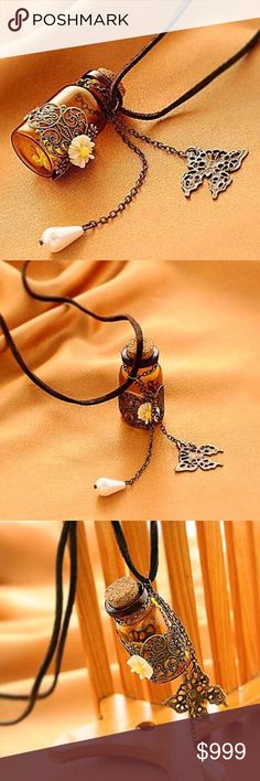 Wishing Bottle Fashion jewelry necklace Carved long leather cord necklaces & pendants retro cork Wishing bottle sweater chain. Jewelry Necklaces