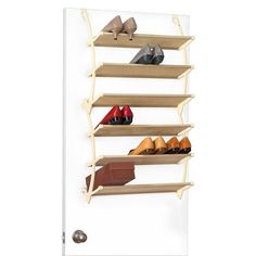 Lynk Vela Over-the-Door Shoe Shelves $24.99. Dimensions: 37.400H x 21.500W x 9.000D Weight: 3.280 Assembly Details: assembly required, no tools needed. Frame Material: Steel Surface Material: Polypropylene Care and Cleaning: Wipe Clean with a Dry Cloth It adjusts to fit the thickness of any door and can even be permanently mounted to any door or wall. No tools needed. These elegant shoe shelves are made of beautiful and durable non-woven polymer fabric with steel and polymer construction