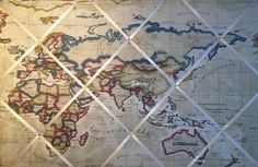 Extra Large Clarke & Clarke World Map fabric notice / memo / memory / pin board http://www.ebay.co.uk/itm/Extra-Large-Clarke-Clarke-World-Map-fabric-notice-memo-memory-pin-board-/151074751515